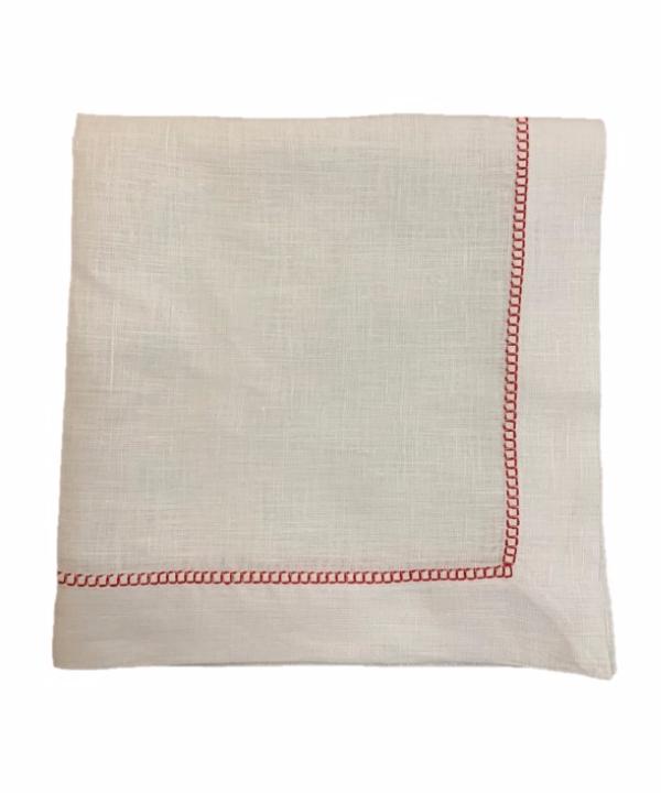 Guardanapo de linho branco c/ detalhe bordado vermelho - 6 peças 1 - Divino Espaço