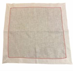 Guardanapo de linho branco c/ detalhe bordado vermelho - 6 peças 2 - Divino Espaço