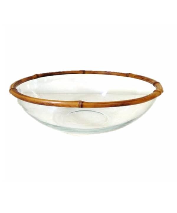 Bowl vidro borda bambu 1 - Divino Espaço