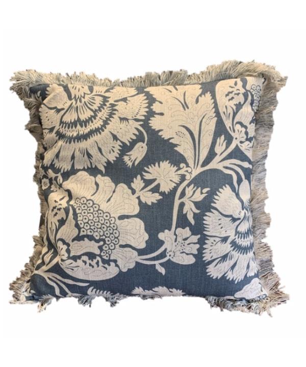 Almofada linho flora azul e cru 50X50 1 - Divino Espaço