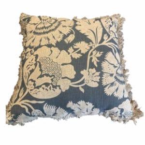 Almofada linho flora azul e cru 50X50 2 - Divino Espaço