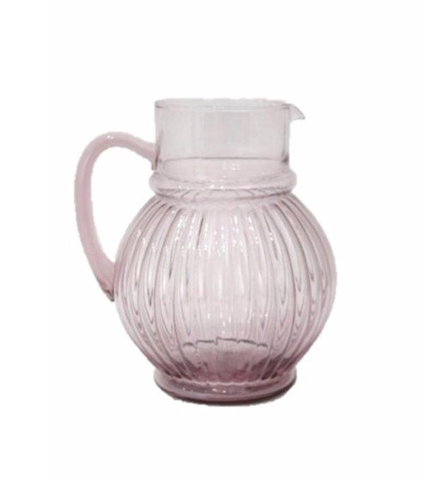 Jarra de vidro rosa 1 - Divino Espaço