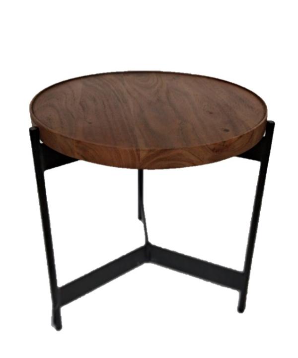 Mesa redonda lateral em madeira e metal 1 - Divino Espaço
