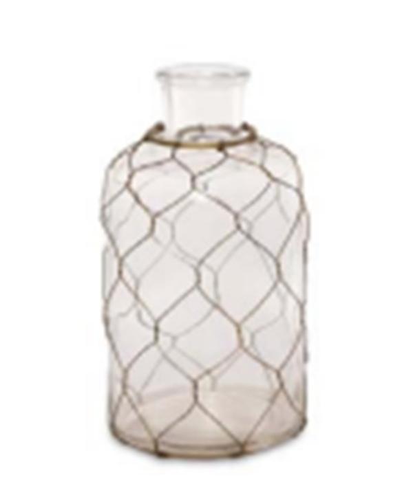 Vaso de vidro garrafa aramado 1 - Divino Espaço