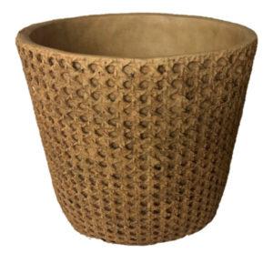 Cachepot de cerâmica com acabamento imitando palhinha. 2 - Divino Espaço