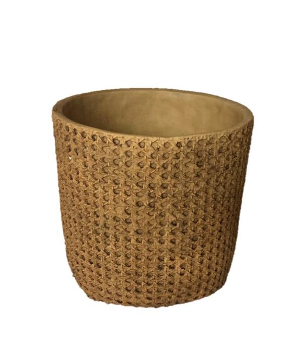 Cachepot de cerâmica com acabamento imitando palhinha. 1 - Divino Espaço