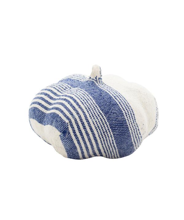 Escultura modelo abóbora tecido azul 1 - Divino Espaço