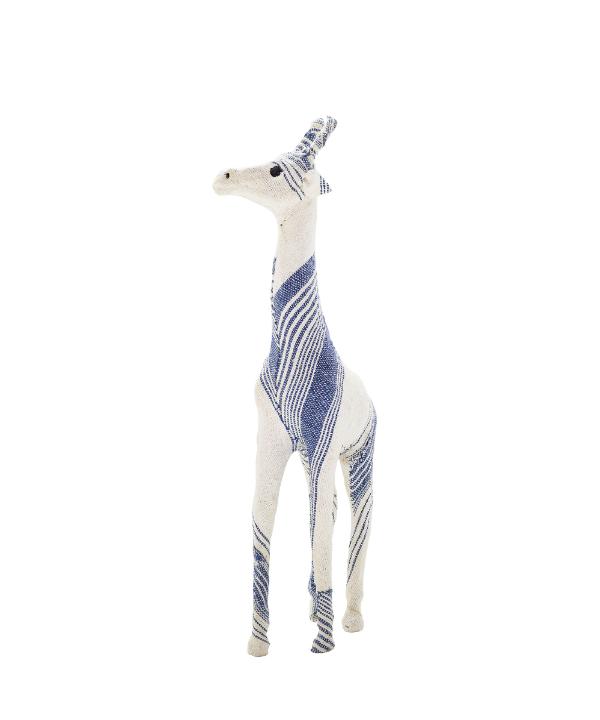 Escultura modelo girafa tecido azul 1 - Divino Espaço