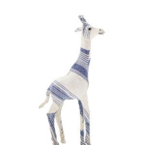Escultura modelo girafa tecido azul 2 - Divino Espaço