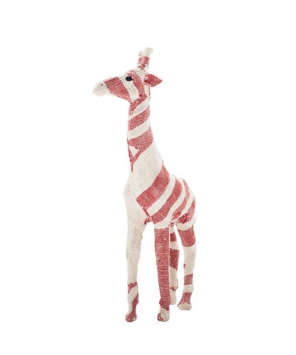 Escultura modelo girafa tecido vermelha 1 - Divino Espaço