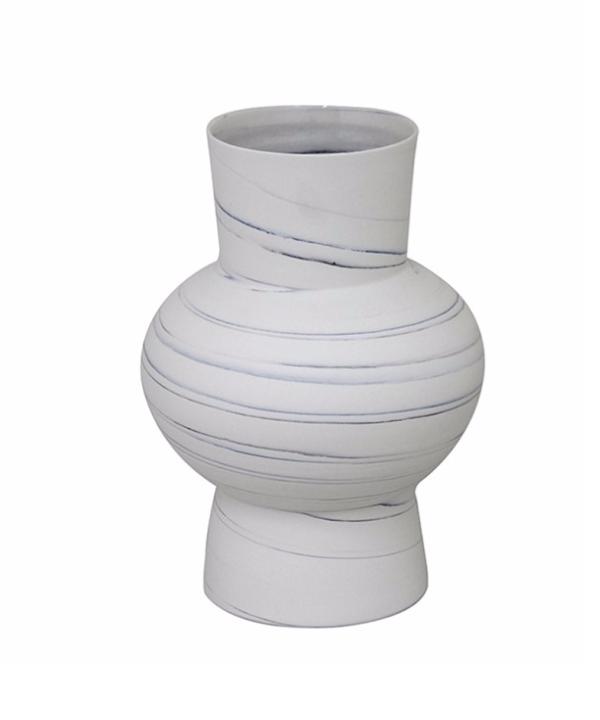 Vaso de cerâmica branca com mescla azul 1 - Divino Espaço