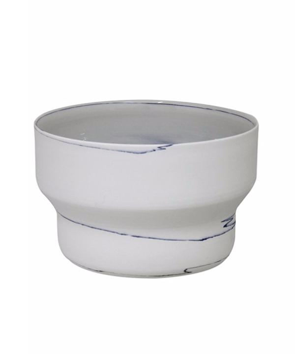Cachepot de cerâmica branca com mescla 1 - Divino Espaço