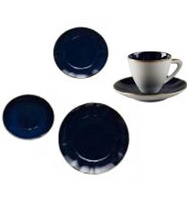 Apar. jantar C/24 pçs na cor azul cobalto friso dourado 1 - Divino Espaço