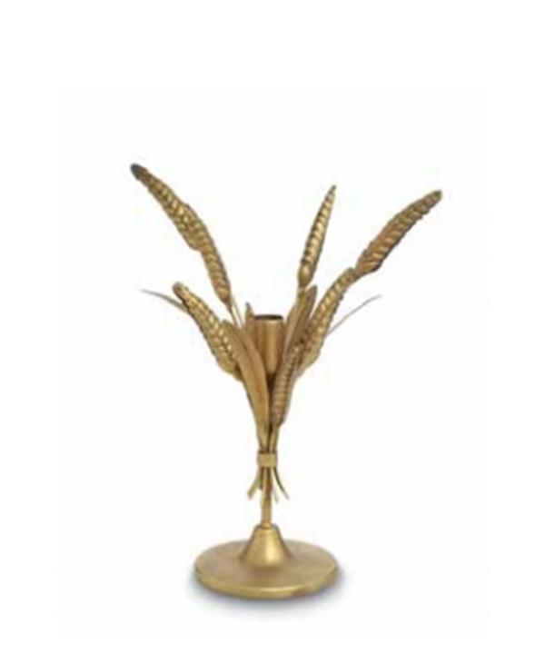 Castiçal P metal dourado fosco modelo trigo 1 - Divino Espaço