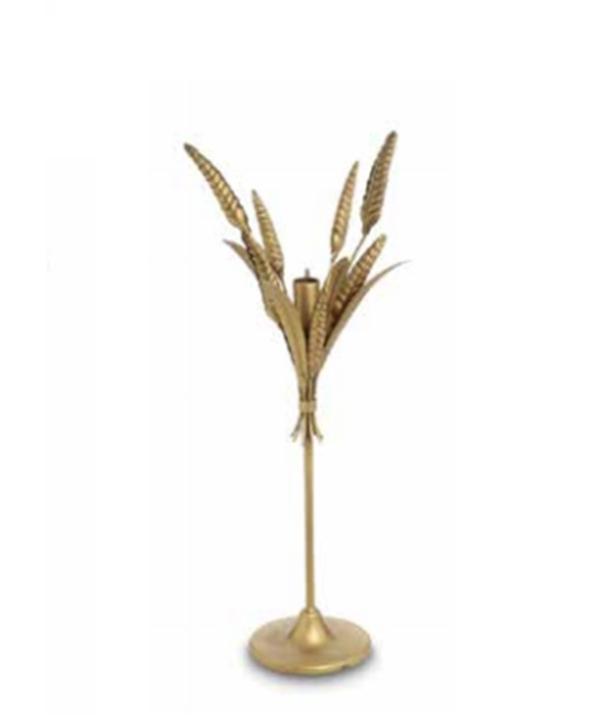 Castiçal M metal dourado fosco modelo trigo 1 - Divino Espaço