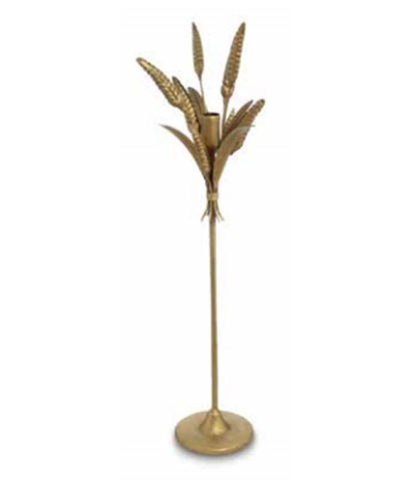 Castiçal G metal dourado fosco modelo trigo 1 - Divino Espaço