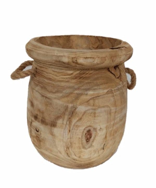 Cachepot de madeira c/ alça corda 1 - Divino Espaço