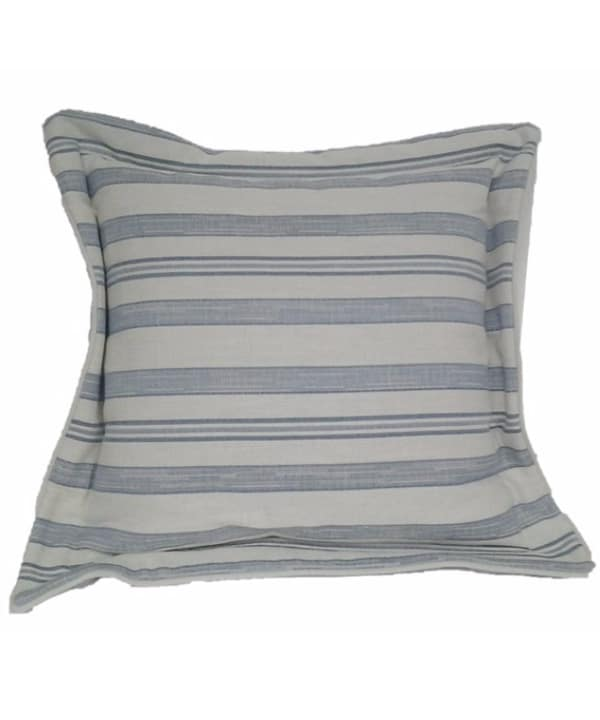 Almofada de algodão listrado azul e cru 50 X 50 1 - Divino Espaço