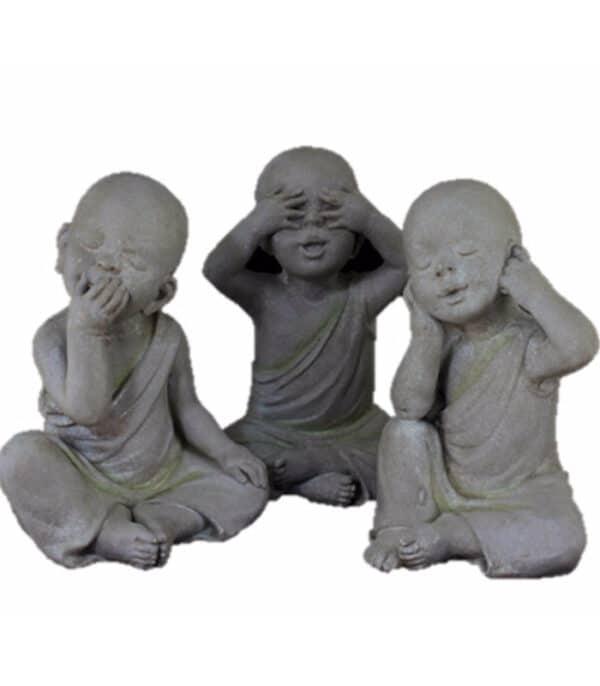 """Escultura Budas """"não vejo , não escuto e não falo"""" 03 pçs 1 - Divino Espaço"""